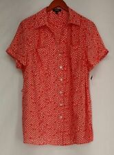 Polka Dot Short Sleeve Button Down Shirts for Women