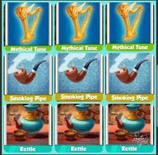 3 x Mythical Tune 3x Smoking Pipe & 3x Kettle Coin Master Cards