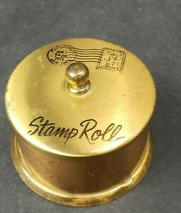 Vintage 1950's Desk Top Postage Stamp Roll Holder / DISPENSER Brass Nice