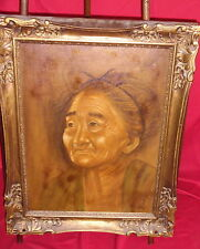 Framed Portrait Painting On Canvas - Older Woman - Renee Wang