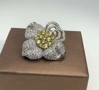 2.5 Ct Yellow Citrine & Clear Pave Topaz Flower Brooch Pin 18K White Gold Plated