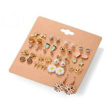 20Pairs/Set Crystal Pearl Heart Butterfly Star Ear Stud Pack Earring Jewelry DR
