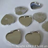 NEW HEART ANTIQUE SILVER  CAMEO CABOCHON PENDANT SETTING TRAY 25mm x 23mm C19