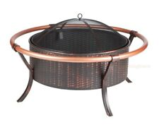 "Wood Fire Pit 37"" Copper Rail 27.5"" Firebox Antiqued Bronze Painted Steel Weave"
