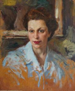 Quadro su tavola di Vittorio Gussoni, ritratto di Pina Sacconaghi
