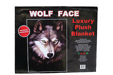 """Wolf Face Luxury Plush Blanket Bedspread.79"""" X 94"""" Inches"""