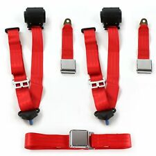 Chevy Corvette 1968-1982 Airplane 3pt Red Retractable Bench Seat Belt Kit - 3 Be