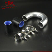 "180 degree 57mm 2.25"" Aluminum Turbo Intercooler tube Pipe+silicon hose+clamp BK"