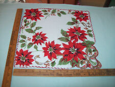 VINTAGE CHRISTMAS RED WHITE POINSETTIA  FLOWER FLORAL HANKIE HANDKERCHIEF