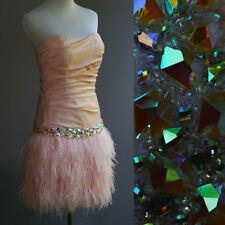 La femme Ostrich Feather Dress Pink Satin Halter Huge Rhinestones Beaded New 6