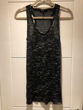 MAJE Black Grey épuisement professionnel Tissue Cotton Tank Top Vest 1 XS S Small New Neuf sans étiquette