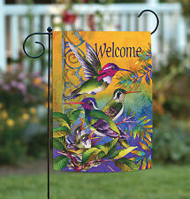Toland Hummingbird Home 12.5 x 18 Bright Colorful Bird Welcome Garden Flag
