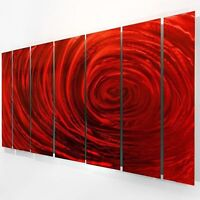 Large Fiery Red Metal Wall Art Painting - Modern Contemporary Decor by Jon Allen