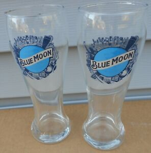 LOT OF 2 BLUE MOON NEW YORK CITY TALL PILSNER BEER GLASSES NEW 8 INCHES TALL