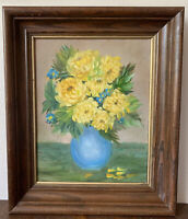 Vintage SIgned OIl On Canvas Still Life Flowers in Vase Framed Primitive Naive