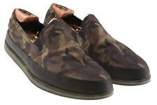 Prada Mens Black & Green Camouflage Slip On Sneakers Loafers Shoes 8