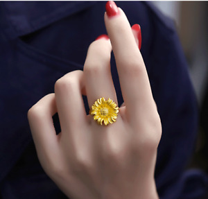 1pcs Real 24K Yellow Gold Ring For Women 3D Hard Gold Big Flower Gold Ring 6-8