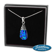 Teardrop Necklace Blue Paua Abalone Shell Pendant Silver Fashion Jewellery 18""
