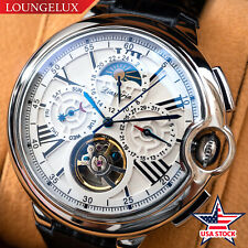 Mens Automatic Mechanical Wrist Watch Date Day Moon Phase Silver USA Stock