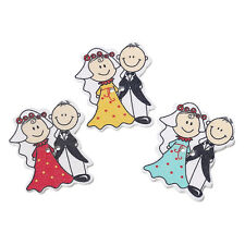 6 Wood Novelty Mixed Colour Bride & Groom Sewing Craft Buttons 4cm,
