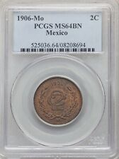 MEXICO ESTADOS UNIDOS 1906  2 CENTAVOS COIN CERTIFIED UNCIRCULATED PCGS MS64-BN
