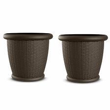 "Suncast Willow 22"" Diameter Resin Decorative Wicker Patio Planter Pot (2 Pack)"