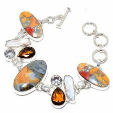 "Maligano Jasper, Smokey Quartz Silver Fashion Jewelry Bracelet 7-8"" SB4318"