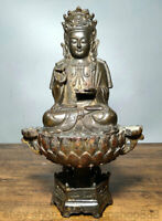 "9,6 ""vieux siège en bronze chinois Guan Yin Boddhisattva déesse Lotus Statue"