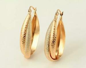 """SALE 9K 9ct Yellow """"Gold Filled"""" Prom Oval 41mm Hoops Earrings Xmas Gift"""