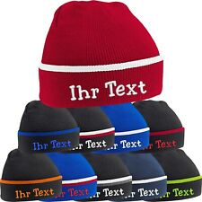 10x Strickmütze Teamwear Beanie Kontrastrand Mütze bestickt mit Name Wunschtext