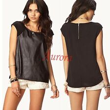 Forever21 Coated Casual Party Faux Leather Front Sleeveless Punk Raglan Tee Top