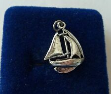 Sterling Silver Movable 3D 22x17mm Sailboat with 3 sails Charm