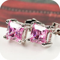 18k white gold gp made with square Swarovski crystal stud earrings pink 5mm
