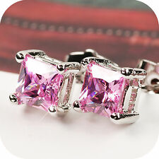 18k white gold gp crystal pink stud earrings 5mm
