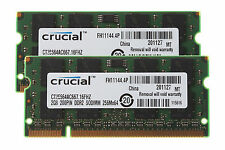 4GB 2x 2GB Crucial 2GB PC2-5300 DDR2 667MH​z 200pin Sodimm Laptop Memory RAM