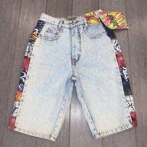 NOS Vtg Jordache Denim Shorts Acid Wash Stone Blue Jean NEW 80s 90s Kids Boys 14