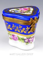 Limoges France HANDPAINTED BLUE GOLD ROSES FLOWERS LADY FAN CLASP Trinket Box