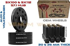 5X100 5X112 BLACK HUBCENTRIC WHEEL SPACER KIT  20MM & 25MM THICK 57.1 FITS AUDI
