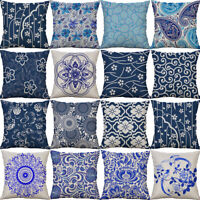 18'' Porcelain printing Pillow Case Cotton Linen Cushion Cover Sofa Home Decor