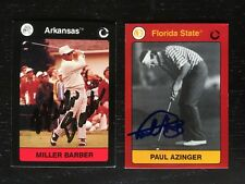 1991 COLLEGIATE COLLECTION HAND SIGNED GOLF CARDS (2) BARBER/AZINGER W/COA 2219
