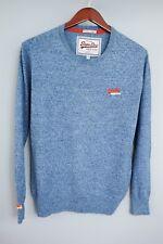 XFM249 Men Vintage Superdry Blue Crew Neck Cotton Cashmere Jumper Size M