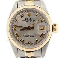 Rolex Datejust Lady 2Tone 14K Yellow Gold Steel Watch Slate Gray Roman Dial 6917