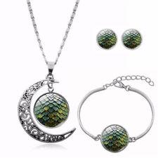Schmuckset Mond Sonne Sterne Kreis grün Ohrstecker Armband Anhänger mit Kette