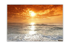 Sunset Over Cloudy Ocean Landscape Poster Prints Wall Art Decoration Pictures