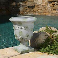 Tall Antique Grey Stone Roman Decor Outdoor Garden Urn Planter / Flowers Pot