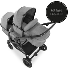 NEW Hauck Atlantic Twin Double Buggy Pushchair Pram Grey set from Birth to 3Yrs