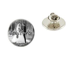 Personalised Photo & Text Metal Pin Badge Tie Pin Brooch Birthday Gift N442