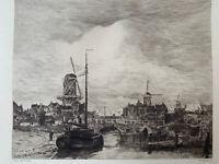 Jacob Maris Gravure eau forte etching Vue De Ville Pays  Bas Amsterdam Hollande