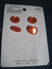 ANT/VTG GRANTS PARTIAL CARD BRIGHT ORANGE MOONGLOW DOME LUC/PLA BUTTONS QTY 4