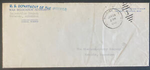1945 McGehee AR Usa War Relocation Authority Official Cover To Memphis TN